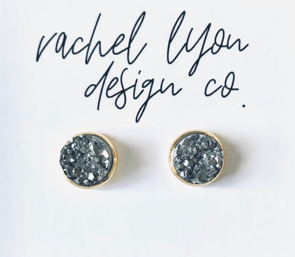Gunmetal Grey Druzy Stone Studs - 10mm