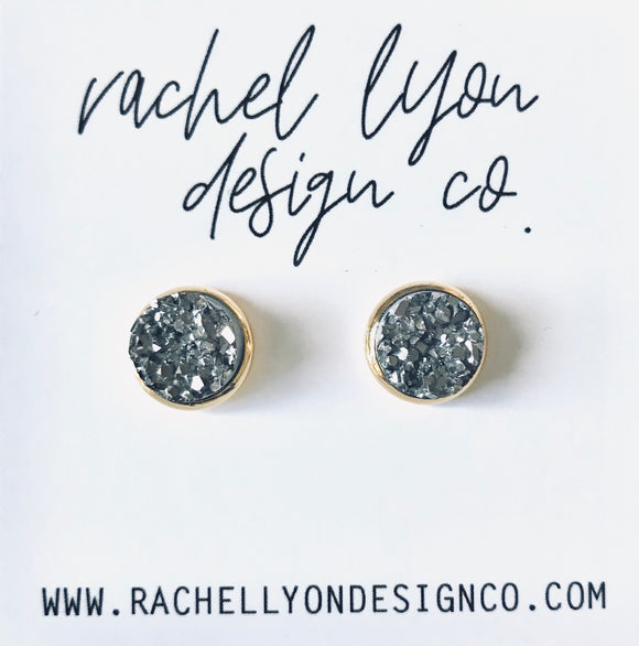 Gunmetal Grey Druzy Stone Studs - 12mm