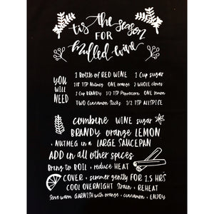 Holiday Tea Towel - Mulled Wine Recipe