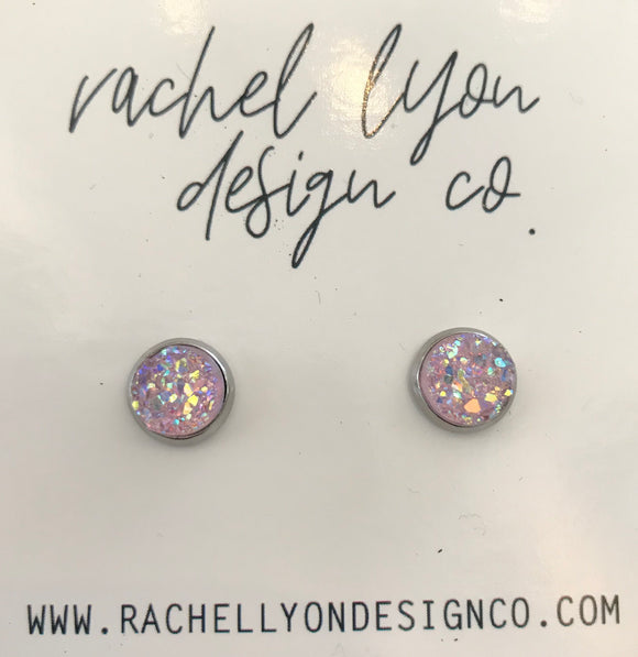 Light Pink Moonstone Druzy Stone Studs - 8mm
