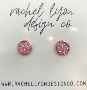 Bright Pink Moonstone Druzy Stone Studs - 8mm