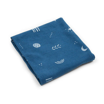 ORGANIC COTTON KNIT BABY BLANKET - OCEAN BLUE