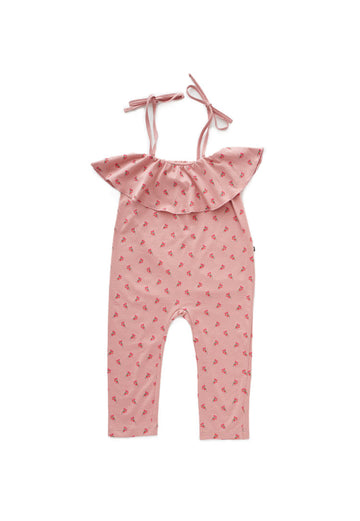 RUFFLE JERSEY OVERALL - FLOWERS