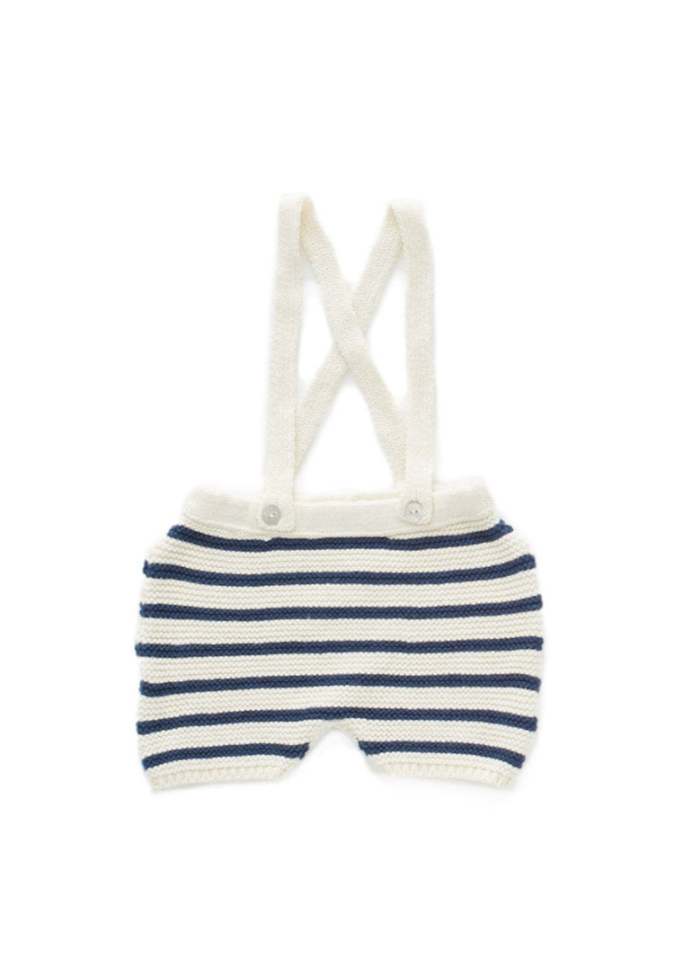 SUSPENDER SHORTS - NAVY STRIPE