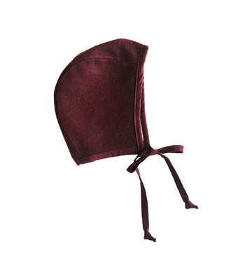 WOOL BRIMLESS BONNET - RUBY