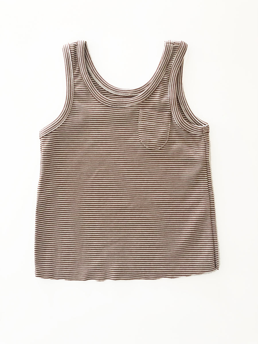 ORGANIC ANTIQUE STIPE TANK - BROWN/WHITE