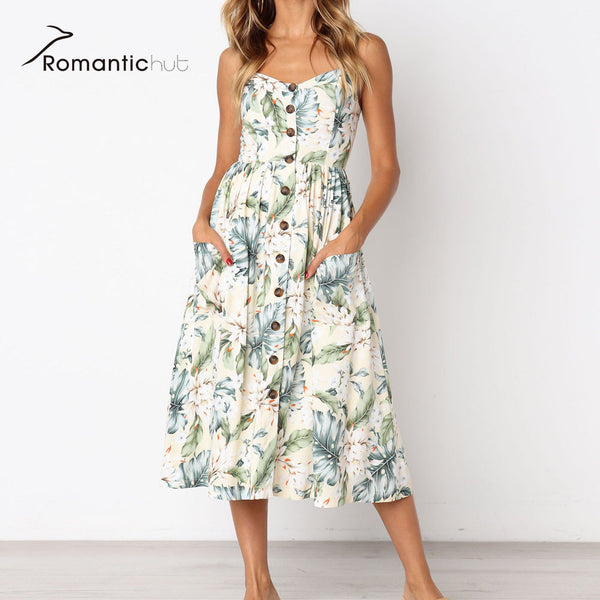 89583b626d 8 color New Boho Style Spaghetti Long Dresses Button Decorated Print Dress  Women Off-shoulder