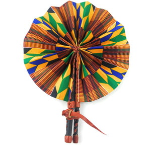 African Fan  - Yellow/Blue/Red Kente Design