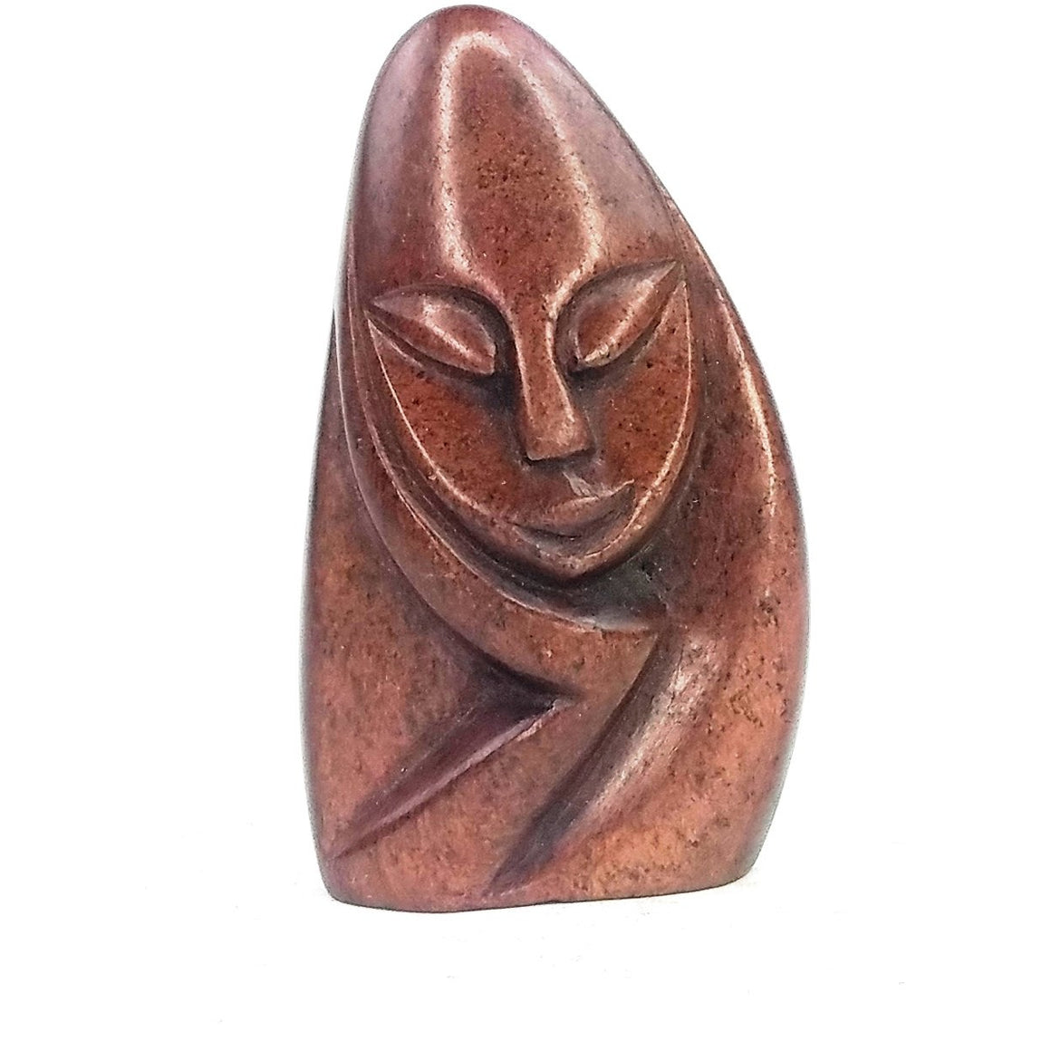 Red Stone Shona Thinker Statue Hand Carved In Zimbabwe