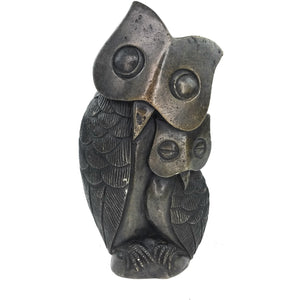Wise Owl Mother And Child Hand Carved In Zimbabwe