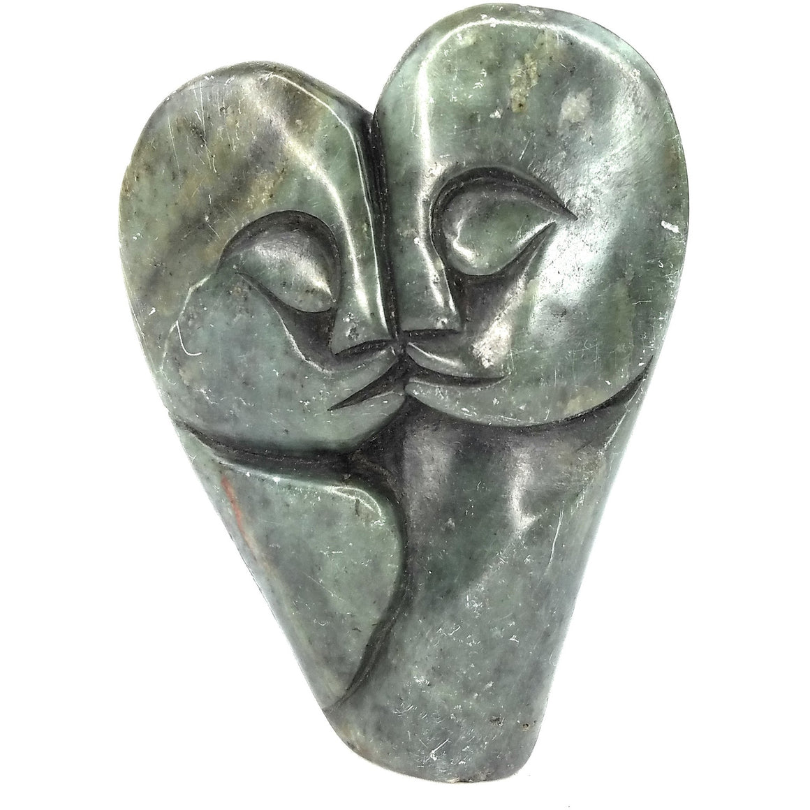 Green Stone Heart Kissing Couple