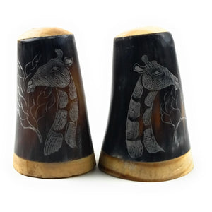Scrimshaw Cow Horn Salt and Pepper Shakers