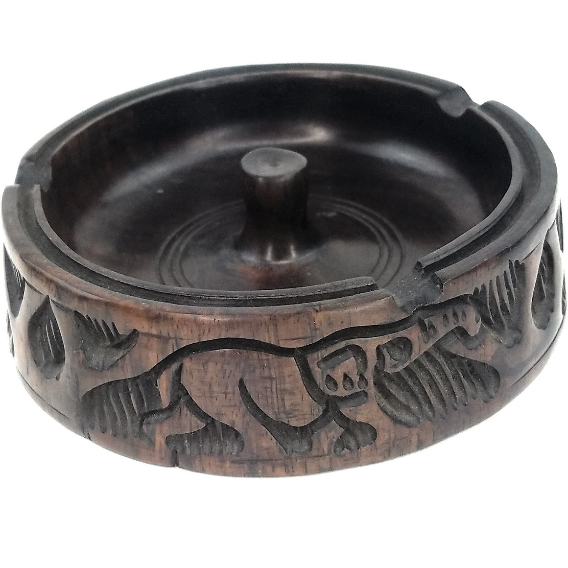 Safari Animal Ebony Wood Ashtray