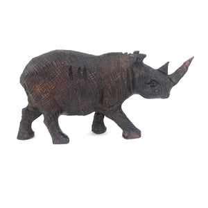 Ironwood Rhino Hand Carved In Zimbabwe