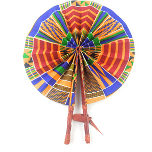African Fan  - Blue/Red Kente Design