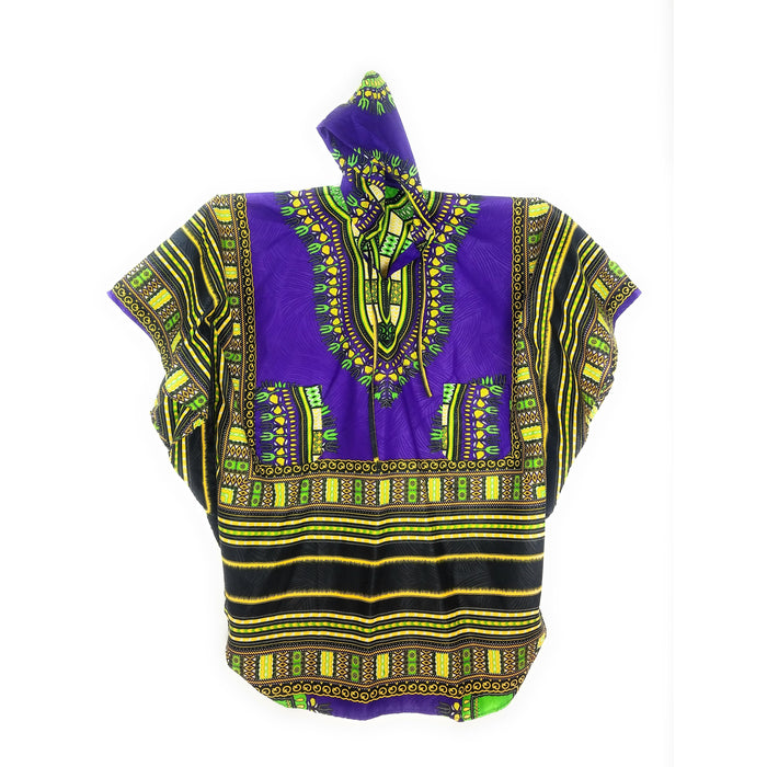 Unisex Long Hoodie Dashiki - Purple