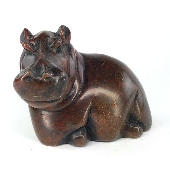Resting Hippo Hand Carved In Zimbabwe