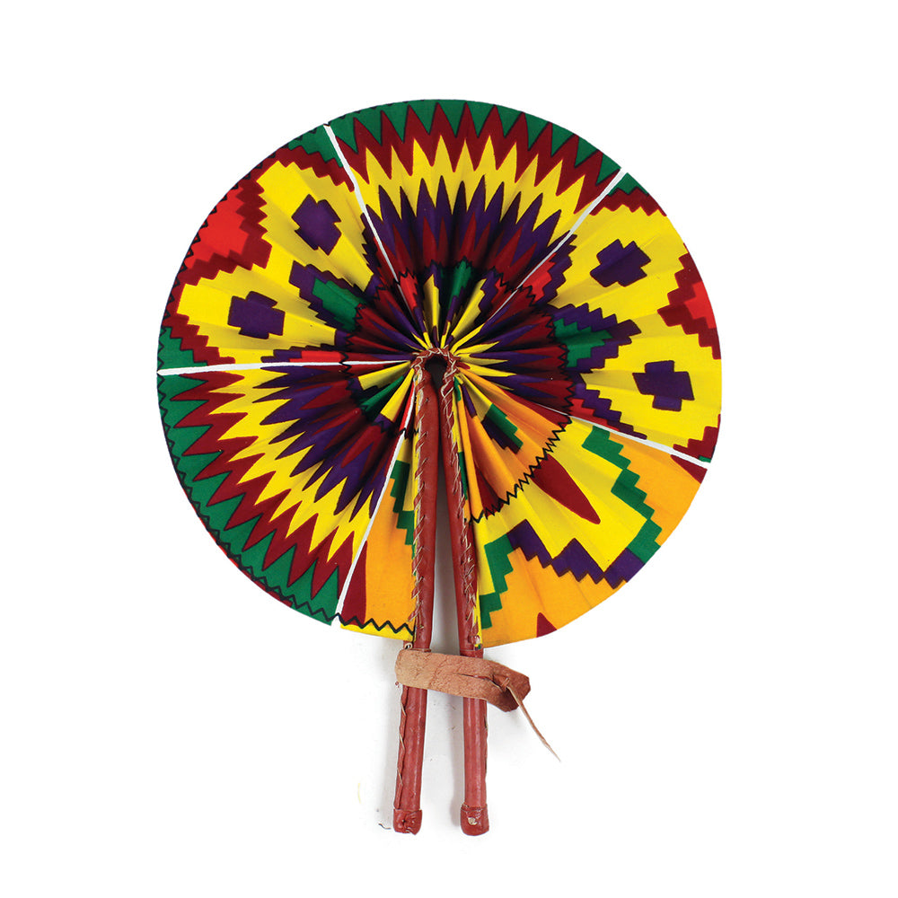African Fan  - Yellow/Purple Kente