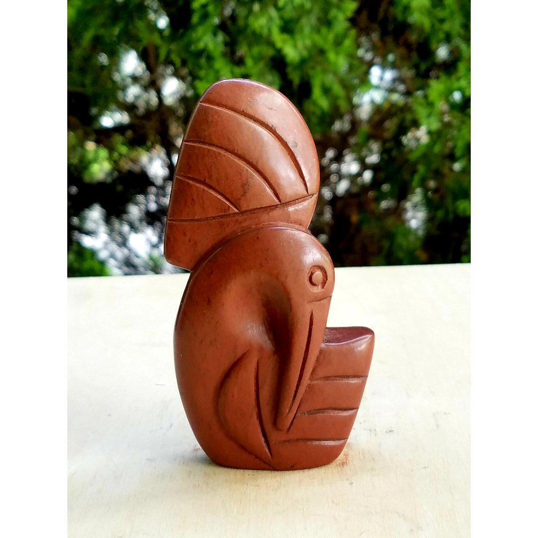 Abstract Red Stone Bird