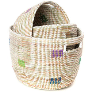 Set of Three Prismatic Pixels Sewing Baskets