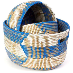 Set of Three Blue Herringbone Sewing Baskets