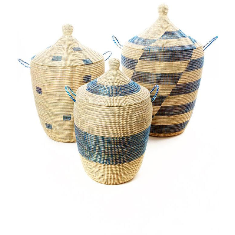 Large Wicker Hamper Set - Aqua
