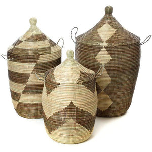 Large Wicker Hamper Set - Black and Beige