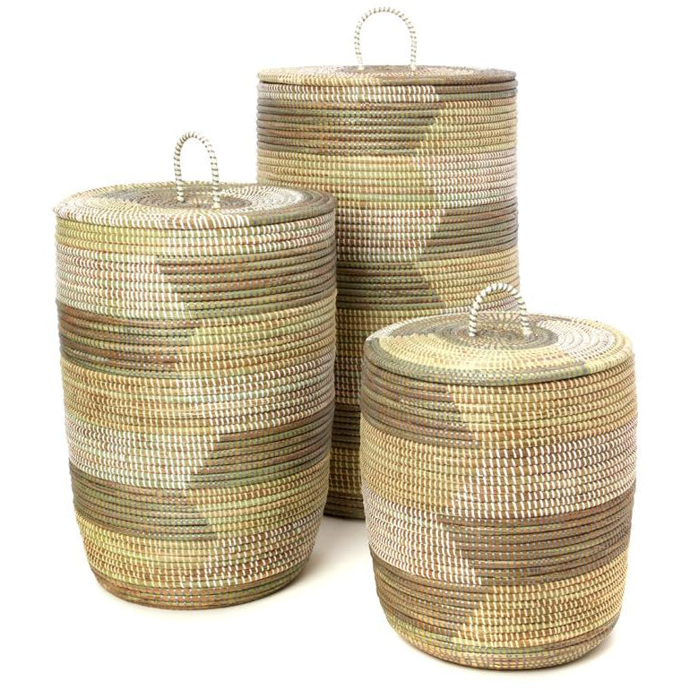 Set of Three White, Cream & Gray Sahara Hamper Baskets
