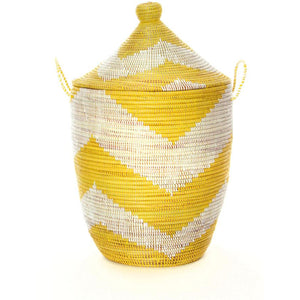 Large Wicker Hamper Set - Yellow and White