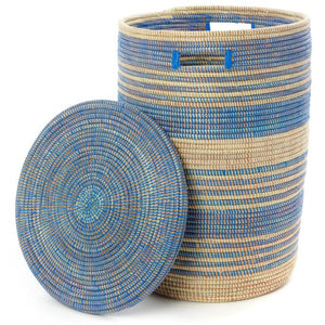 Set of Three Blue Ebb & Flow Striped Hampers