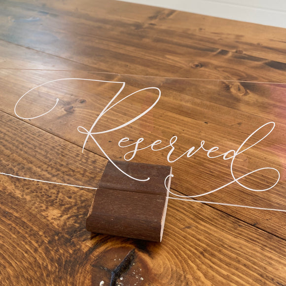 Acrylic Reserved Sign Rental Collection