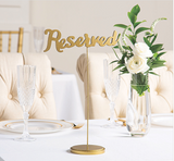 Gold Calligraphy Reserved Table Sign Rental