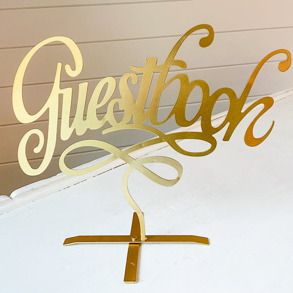Gold Script Guestbook Sign