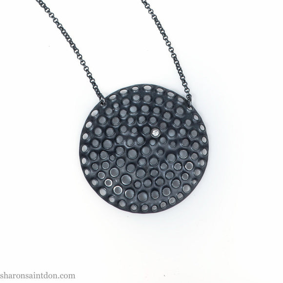 Big, unique, round oxidized black silver pendant | Large handmade sterling silver statement pendant