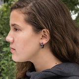 18mm sterling silver small hoop earrings | Wide oxidized black silver hoops | Sustainable Jewelry