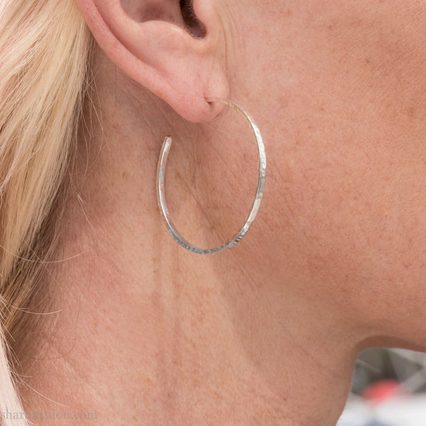 40mm silver hoop earrings for women | Medium, narrow, thin, hammered solid sterling silver | Hand made, eco conscious gift for her