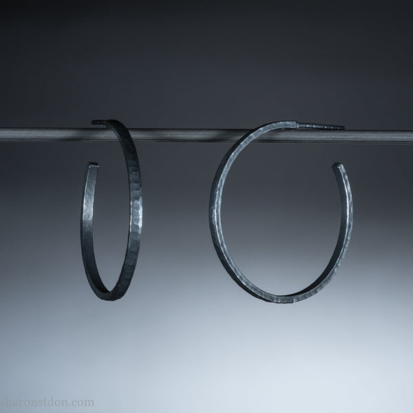 30mm silver hoop earrings for women | Medium, narrow, thin | Oxidized black sterling silver | Hand made, modern, eco conscious gift for her