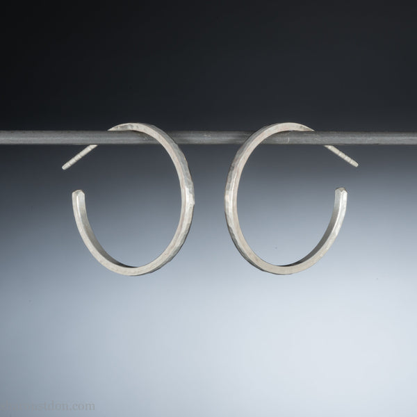 25mm small sterling silver hoop earrings | Narrow, shiny hammered silver hoops | Sustainable, handmade, eco conscious, gift for her.