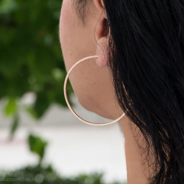 50mm large solid 14k gold hoop earrings for women  Handmade, sustainable, eco conscious jewelry gift for her