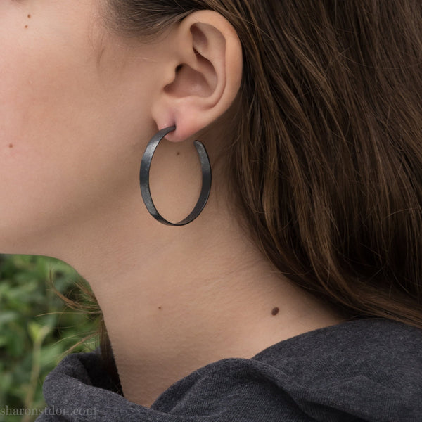 40mm large silver hoop earrings for women | Big, round, oxidized black sterling silver | Hand made, sustainable, eco conscious gift for her