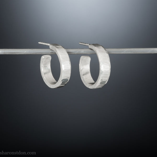 18mm x 4mm small sterling silver hoop earrings | Handmade thick, chunky silver hoops | Sustainable, handmade, unique gift