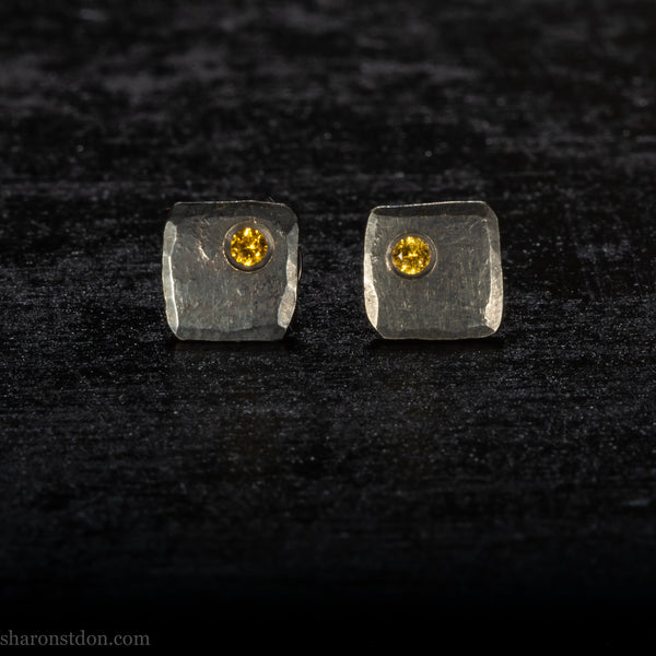 Small sterling silver stud earrings with golden topaz gemstones | Oxidized black, sterling silver, handmade studs for men or women