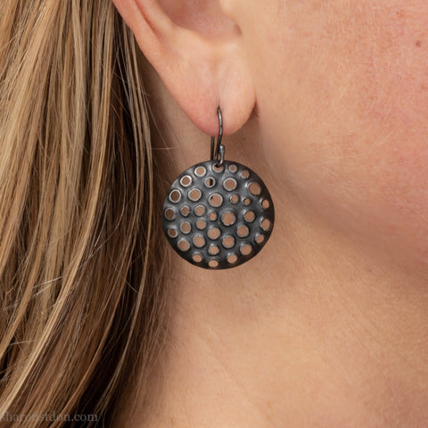 Round sterling silver dangle earrings | Handmade modern black dangle earrings | Gift for her