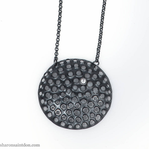 Large round silver statement necklace | oxidized black sterling silver pendant with cubic zirconia | 17 inch chain | Eco conscious gift