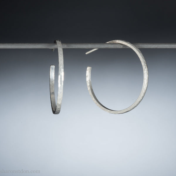 30mm sterling silver hoop earrings for women | Narrow, shiny hammered round medium hoops | Hand made, eco conscious gift for her
