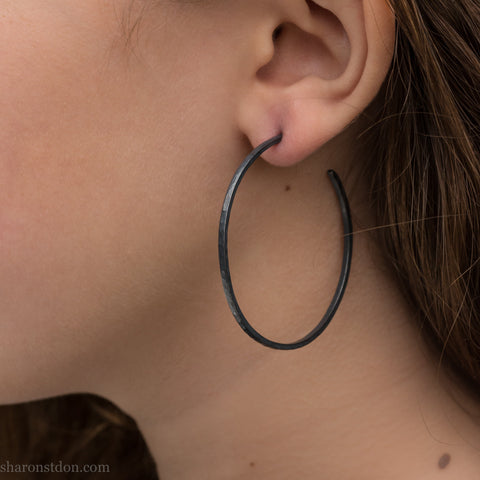 50mm large silver hoop earrings | Big, narrow, oxidized black sterling silver hoop earrings | Sustainable, eco conscious, unique gift