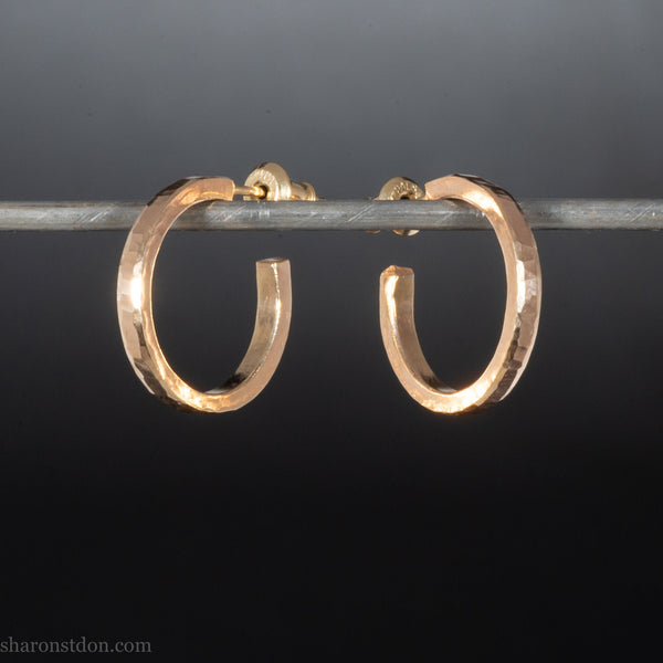 18mm x 2mm solid 22k | Small gold hoop earrings for men or women | Hammered, handmade, eco conscious, sustainable gold jewelry