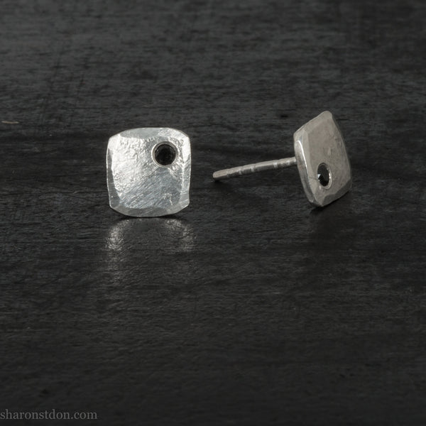 Small sterling silver stud earrings gift for him | Handmade tiny silver studs with black spinel gemstones | Eco conscious jewelry for men