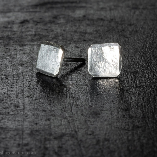 Small sterling silver stud earrings gift for men | Tiny, square, hammered silver studs gift for him