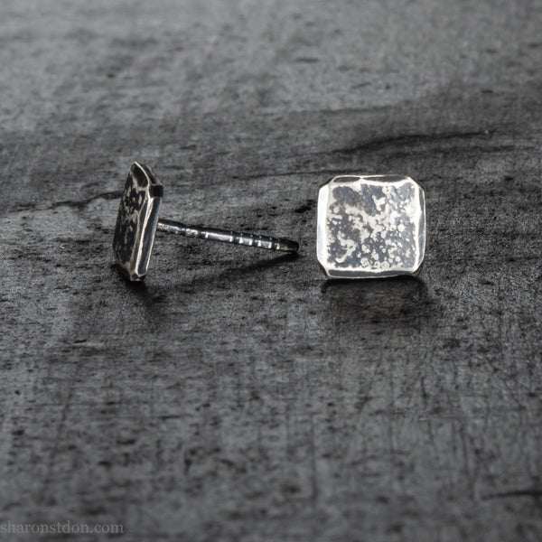 Small 7mm square sterling silver stud earrings, antiqued | Handmade, eco conscious, high quality gift for for men or women, her or him